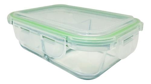 pote hermético de vidro 580ml com divisória para mantimentos