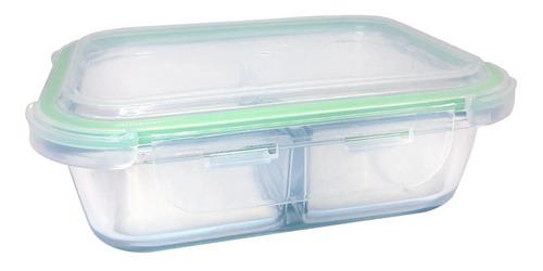 pote hermético de vidro para marmita com divisória 580ml