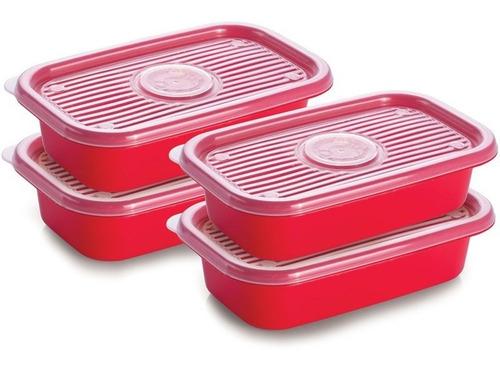 pote pop colors 4 peças 520ml retangular vermelho - plasútil