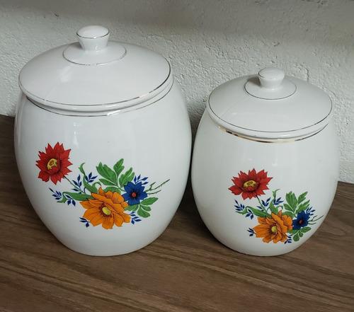 pote porcelana flores com tampa santa rosa f99 (lote 2pçs)