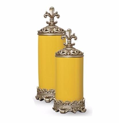 pote potiche cerâmica 2 pças amarelo sol 41 e 35cm