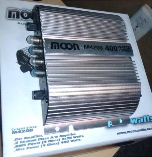 potencia moon 2 canales 4 parlantes 400w 12v 20x2 rms