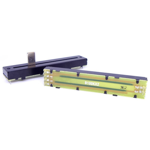potenciômetro deslizante stereo 100kb b100x2 percurso 60mm