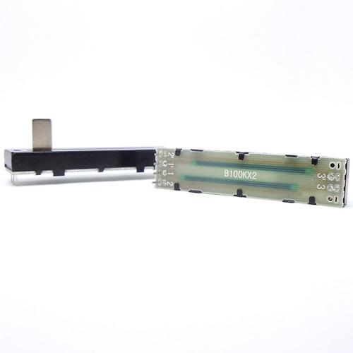 potenciômetro deslizante stereo 100kb b104 percurso 45mm