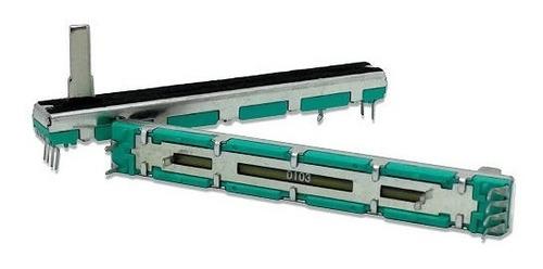 potenciômetro deslizante stereo d10k 10kd d103 percurso 60mm