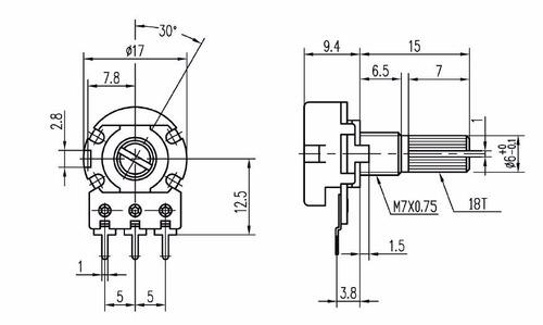 potenciometro 50k ohm miniatura 15mm robotica arduino pic