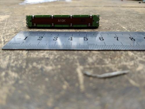 potenciometro desliz stereo 10k logar  6cm/4,5 recorrido.
