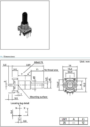 potenciometro encoder vertical 12mm 12det 12ppr ec12e1220813