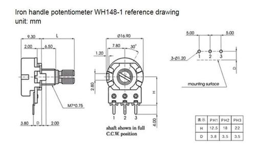 potenciometro lineal 10k wh148 + perilla x 10 unidades