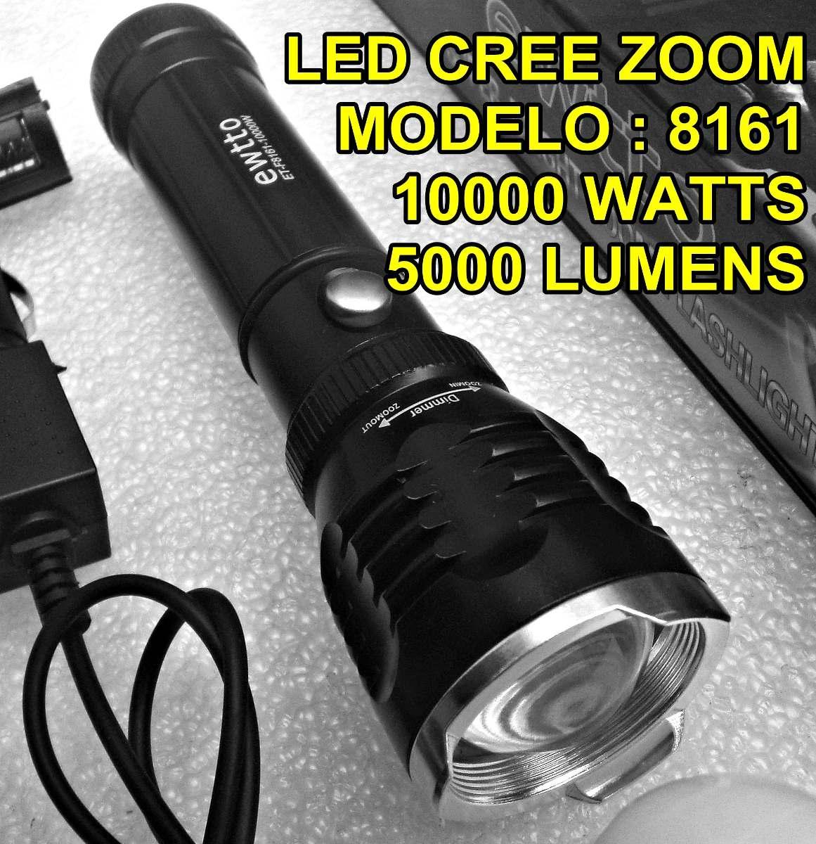 Potente linterna lampara tactic zoom 100m led cree for Linterna de led potente