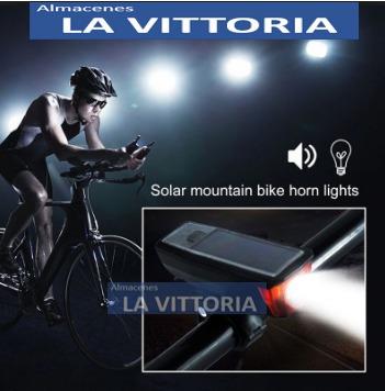 potente luz y claxon bicicleta recarga solar
