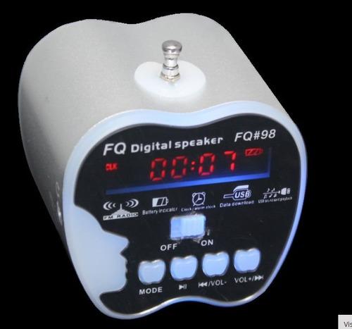potente mini corneta usb, mp3, radio fm.
