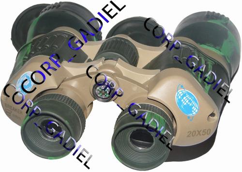potentes binoculares con brújula y forro. alcance 20 x 50.