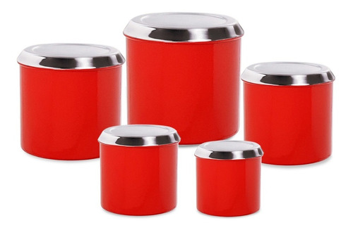 potes conjunto mantimento  alumínio lata condimento 5 peças