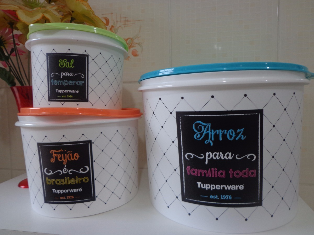 Potes De Arroz 5kg + Feijão + Sal - Bistrô Tupperware - R