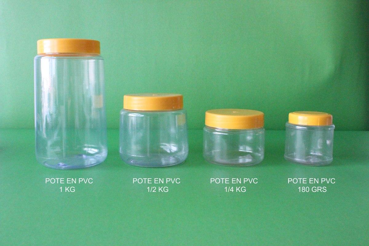Potes de pl stico pvc 1 4 kg para miel y otros for Plastico pvc para estanques
