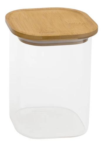 potes de vidro hermetico com tampa de bambu quadrada 4 peças