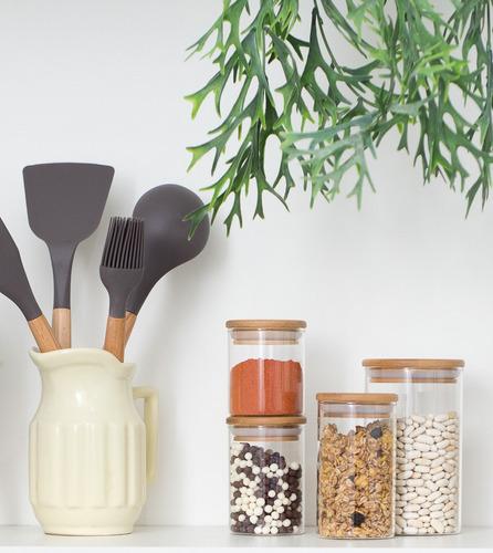 potes de vidro hermetico com tampa de bambu redonda 3 peças
