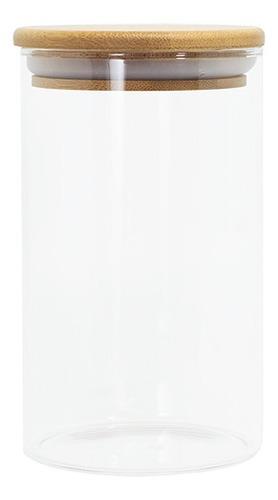 potes de vidro hermetico com tampa de bambu redonda 4 peças