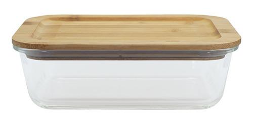 potes de vidro hermetico tampa de bambu retangular 3 peças