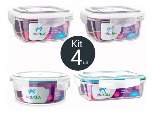 potes de vidro starlux com tampa hermetica kit c/ 4 unidades