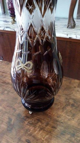 potich de cristal antiguo y bronce gran tamaño