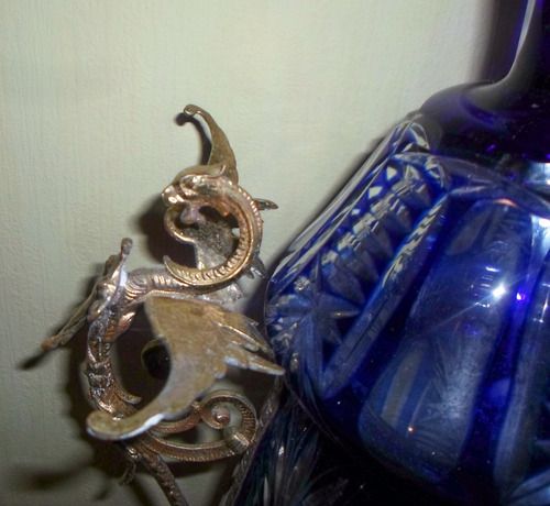 potiche antiguo cristal de bohemia con bronceria