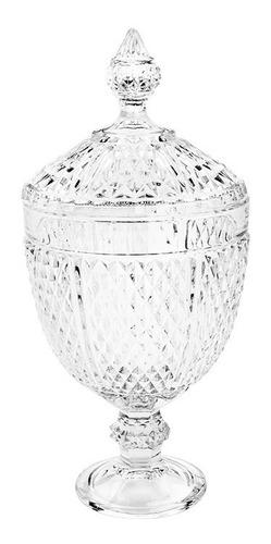 potiche decorativo em cristal lyor perseu 15x32,5cm