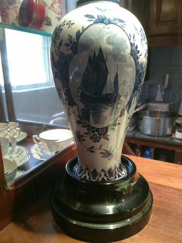potiche jarron antiguo sin tapa . porcelana inglesa con base