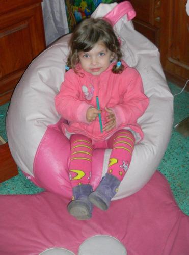 pouf puf pera niño - niña, ecocuero, perlitas de plumavit