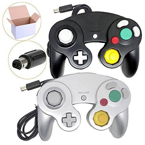 poulep ngc wired controller para wii juegos (negro astilla)