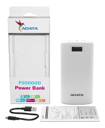 power bank adata p20000d negro 20000mah, c/literna