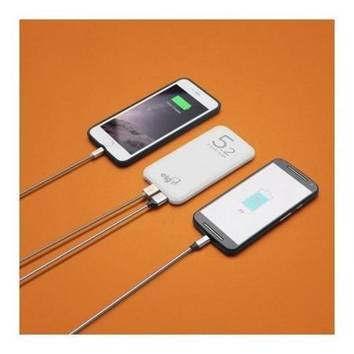 power bank carregador portátil c/ cabo micro usb branco elg