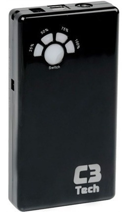 power bank carregador portátil usb c3 tech charger 12000mah