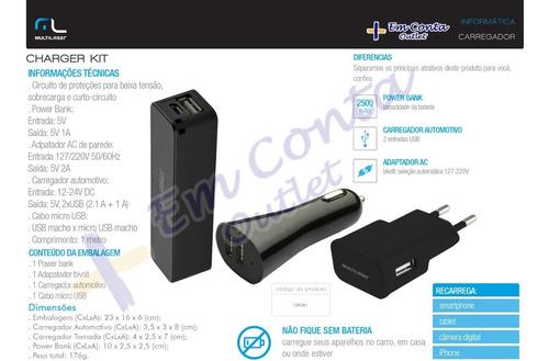 power bank carregador usb e automotivo charger kit 3x1 cb081