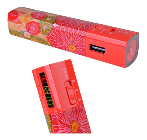 power bank halo 3000mah c/usb/2 adap./luz (floral)