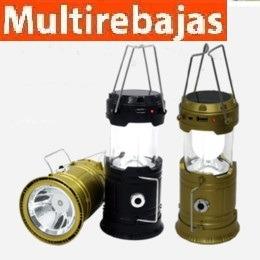 power bank para celular y lampara solar para camping 6 en 1
