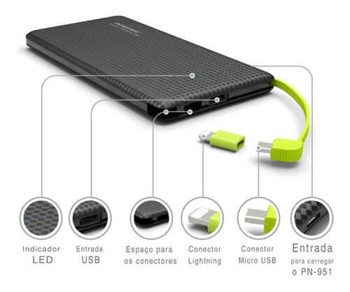 power bank pineng 5.000 mah slim pn-952 original celular