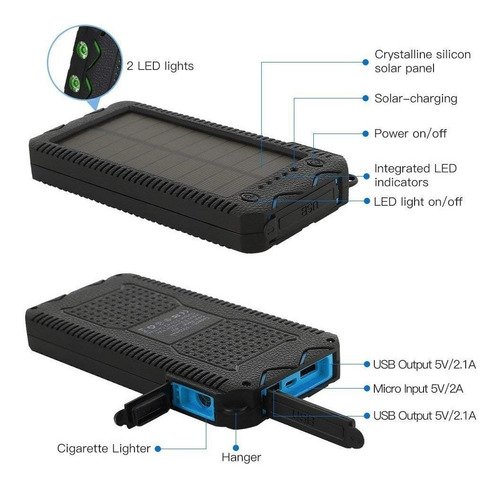 power bank solar premium angitech carga rapida 12.000 mah