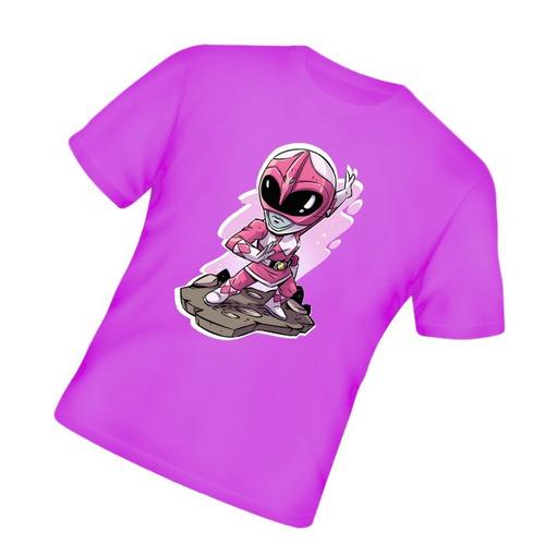 power rangers rosa camiseta infantil