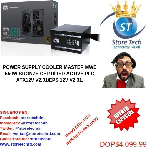 power supply cooler master mwe 550w bronze certified active