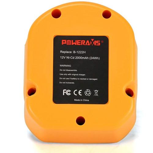 poweraxis 12v 2.0ah batería reemplazo para ryobi 1400652 bc