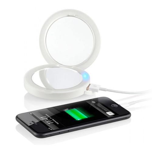 powerbank cargador bateria mujer 2.000 mah luz led / espejo