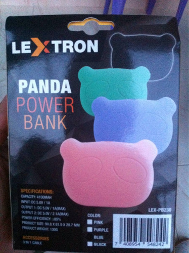powerbank panda cargador portatil smartphone iphone celular
