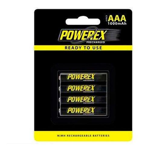powerex - set de 4 baterias aaa recargables 1000-mhrraaa4