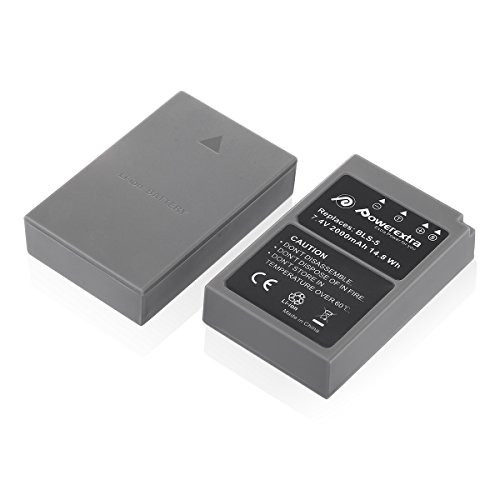 powerextra 2 pack battery for olympus bls-5, bls-50, ps-bls5