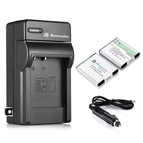 powerextra 2 pcs reemplazo np-bn1 batería recargable + carga