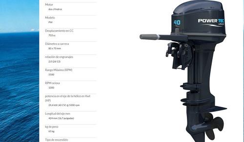 powertec 40 hp nuevo en caja electrico largo full