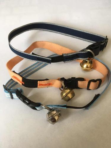 pqte de 6 collares p/gato cinta nal c/cascabel