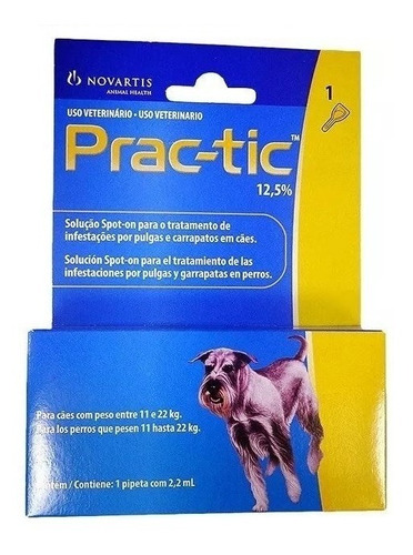 prac-tic novartis para cães de 11kg a 22kg